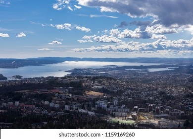 Spectacular panoramic view of Oslo seen from Holmenkollen, Norway.