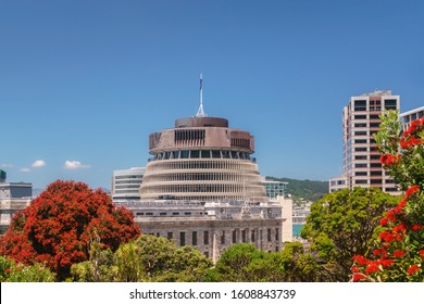 Spectacular red flowering Pohutakawa trees frame the Parliament buildings located in Wellington, New Zealand. The Executive Wing is a distinctive shape and is commonly referred to as The Beehive
