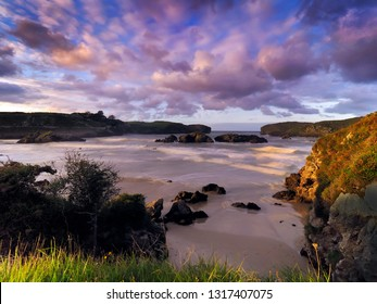 spectacular rock formations and beaches on the coast of Cantabria, Spain