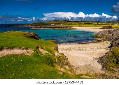 Spectacular Sandy Clachtoll Beach And Clachtoll Beach Campsite Near Lochinver In Scotland