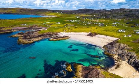 Spectacular Sandy Clachtoll Beach And Clachtoll Beach Campsite Near Lochinver In Scotland