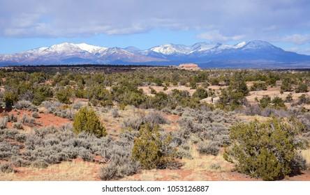 spectacular scenery of the henry mountains along utah highway 95  in the desert near blanding, utah