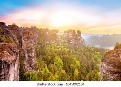 spectacular scenery near Rathen, Germany, Europe (Sachsische Schweiz)
