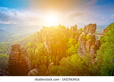 spectacular scenery with rocks in sunrise near Rathen, Germany, Europe (Sachsische Schweiz)