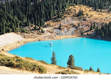 Spectacular scenic Big Almaty Lake in theTien Shan Mountains in Almaty, Kazakhstan, Central Asia