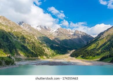 Spectacular scenic Big Almaty Lake, Tien Shan Mountains in Almaty, Kazakhstan, Asia, in summer.