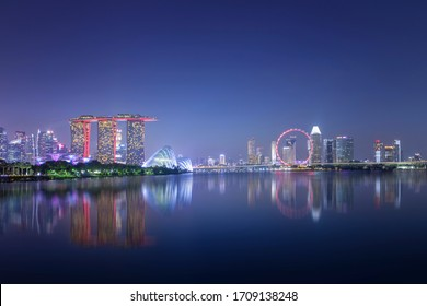 Spectacular Singapore cityscape on a summer night