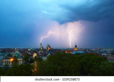 Spectacular storm in Warsaw with lightnings