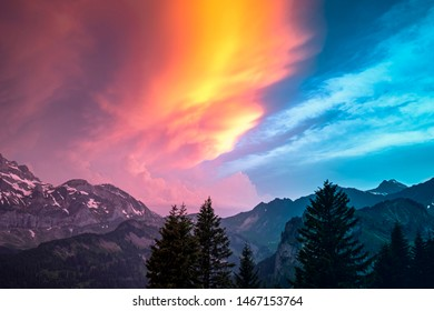 Spectacular sundown of the Dents du Midi mountain range in Switzerland