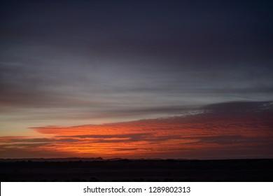 Spectacular sunrise in Merzouga desert, Morocco