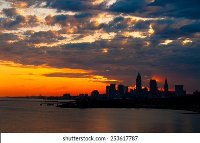 A spectacular sunrise over Cleveland Ohio produces intriguing lighting effects