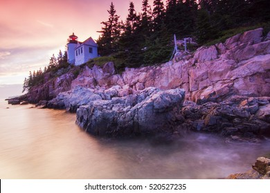 Spectacular Sunset at Bass Harbor Head Lighthouse, Mount Desert Island, Acadia National Park, Maine
