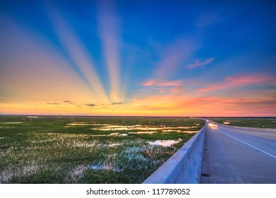 Spectacular Sunset from a Bridge in Charleston, SC