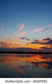 Spectacular sunset in the Danube Delta