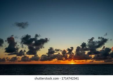 Spectacular sunset on the Caribbean sea