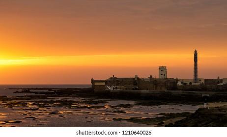 Spectacular Sunset on Saint Sebastian Castle Cadiz Spain
