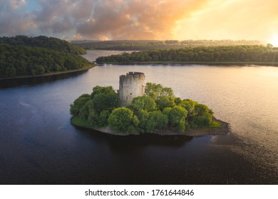 Spectacular sunset over Ireland truly hidden gem - Cloughoughter Castle that sits on a small island in Lough Oughter in county Cavan.