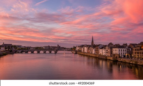 Spectacular Sunset over the Maas river in Maastricht, The Netherlands