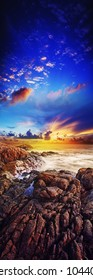 Spectacular sunset over the sea. Long exposure shot, HDR processed.