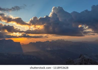 Spectacular sunset over wonderful South Tyrol Dolomite peaks, Lagazuoi, Dolomites, Italy