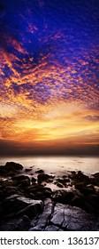 Spectacular sunset scene. Vertical panorama.