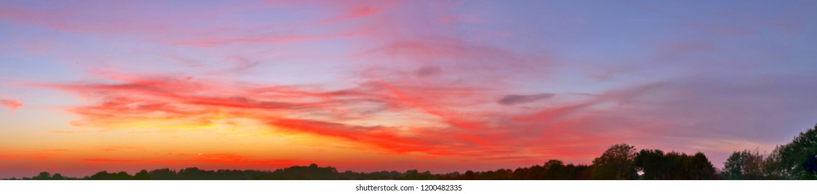 Spectacular sunset sky panorama in northern germany