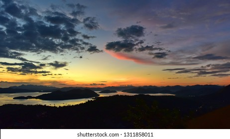 Spectacular sunset from the summit of Mt Tapyas on Coron Island, Philippines