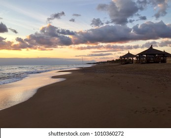 Spectacular sunset view from the sea and waves background pattern in Belek Antalya
