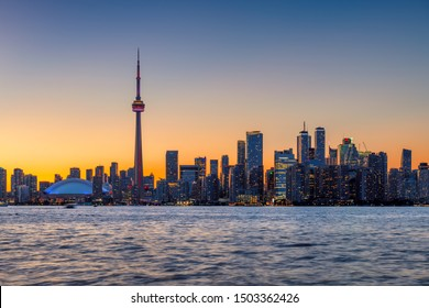 Spectacular Toronto City skyline at sunset - Toronto, Ontario, Canada.