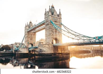 Spectacular Tower Bridge in London at sunrise
