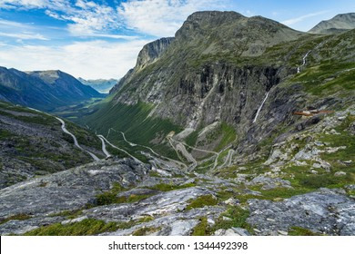 The spectacular Trollstigen road is one of the most tourist destination in Norway near Andalsnes, More og Romsdal region