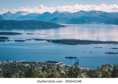 Spectacular Varden - the Molde Panorama view over the norwegian fjord, mountains, islands and small town. View from the top of the rock.