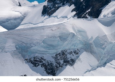 Spectacular view of the Aletsch glacier, bordered by four thousand meter peaks in the Bernese Alps, Switzerland