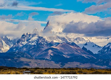 Spectacular view of the Andes mountains in Patagonis, Argentina. Cerro Torre. Fitz Roy, mountains coveres with clouds, Patagonia, El Chalten Argentina