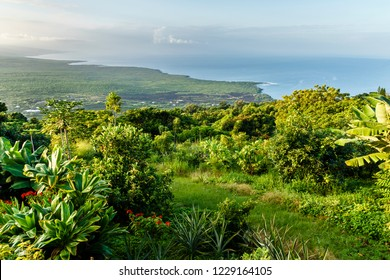 Spectacular View of Big Island Coastline South of Captain Cook , Hawaii