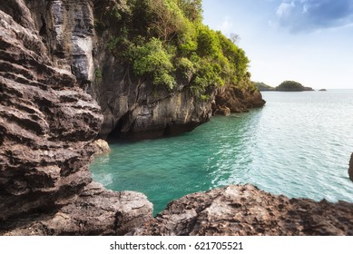 Spectacular view of Cliffs of Satun Province in the southern of Thailand.