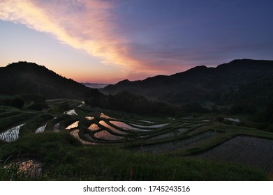 """A spectacular view of the dawn of Oyama Senmaida in Kamogawa City, Chiba Prefecture, May 30, 2020. """"Senmaida"""" is a metaphorical expression of a site with many layers of terraced rice paddies."""