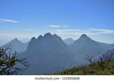 """""""Spectacular view of Five-headed mountain (Ainthuthalai Pothigai) from the top of Agasthyamala Peak, Kerala"""""""