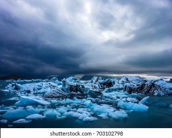 Spectacular View of Glacial Lake in Iceland. Jokulsarlon Glacier Lagoon on a Cloudy Day.