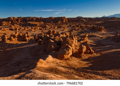 Spectacular view of Goblin Valley State Park in the late afternoon in Utah USA.