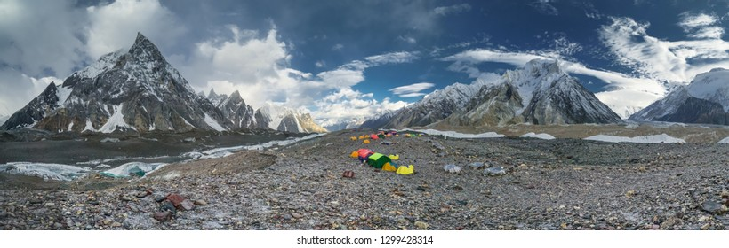 Spectacular view of Karakoram Mountain Range in Pakistan from campsite on the way to K2 base camp.