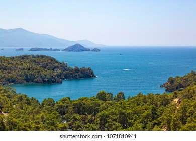 Spectacular view and Mediterranean sea with vegetation in Katranci cove of Fethiye -  Mugla