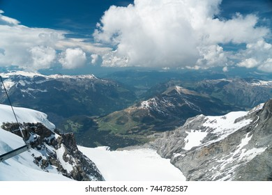Spectacular view of the Mittelland up to the Vosges from the Top of Europe Sphinx Observatory (3,454 meters), Switzerland