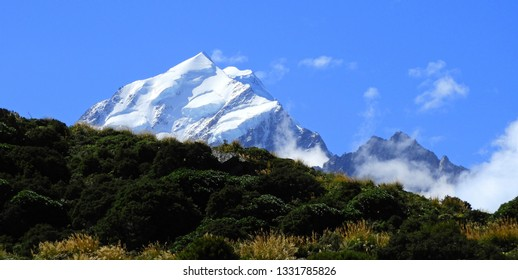 spectacular view of mount cook  along the hooker valley track on a summer day in summer,  near mount cook village on the south island of new zealand