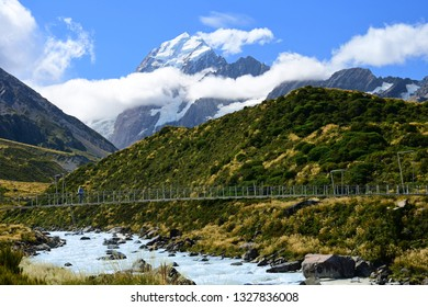 spectacular view of mount cook and the hooker river from along the hooker valley track in summer, near mount cook village, on the south island of new zealand