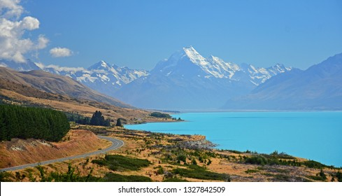 spectacular view of mount cook and turquoise-colored lake pukaki in summer along the road  from twizel to mount cook village, on the south island of new zealand