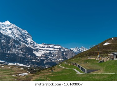 Spectacular view of the mountain Jungfrau and the four thousand meter peaks in the Bernese Alps from Greendeltwald valley, Switzerland
