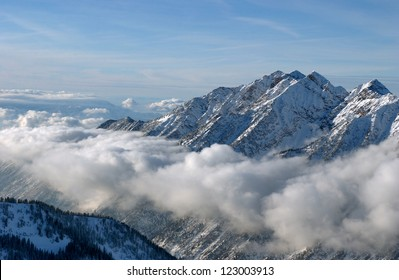 Spectacular view to the Mountains from Snowbird ski resort in Utah, USA