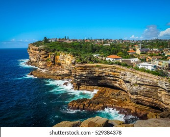 Spectacular view of ocean cliff in the Gap Park, Watsons Bay, Sydney