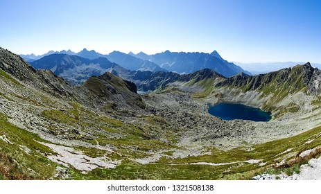 spectacular view on Morskie Oko (Eye of Sea) beautiful lake in Tatras mountains, Tatras National Park, close to Zakopane city, Poland, Eastern Europe, viewed from Rysy mountain